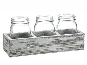 "5""Hx4""Wx11.7""L Glass Vase x3 in Wood Box Clear Whitewashed (pack of 6)"
