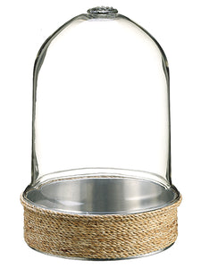 "13.5""Hx9.2""D Sisal Base w/ Glass Terrarium Natural (pack of 2)"