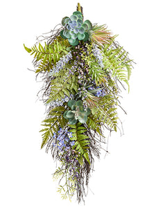 "30""Hx13""W Lavender/Succulent /Fern Door Swag Lavender Green (pack of 2)"