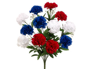 "18"" Carnation Bush x12  Red Blue (pack of 12)"