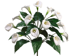 "18"" Calla Lily Bush x14  White (pack of 6)"