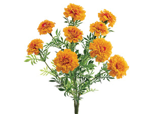 "13"" Marigold Bush x9 with 9 Flowers and 30 Leaves Yellow Orange (pack of 6)"