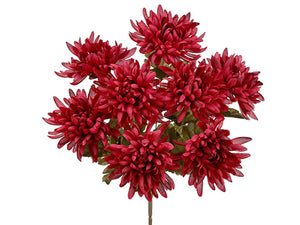 "16"" Mum Bush x8  Burgundy (pack of 12)"