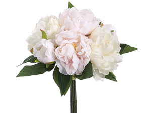 "14"" Peony Bouquet  White Pink (pack of 6)"