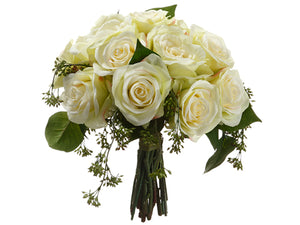 "11.5"" Rose Bouquet  Cream Green (pack of 4)"