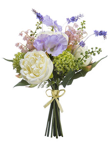 "12"" Peony/Sweetpea/Bells of Ireland Bouquet White Lavender (pack of 6)"