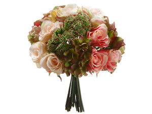 "11"" Hydrangea/Rose/Sedum Bouquet Pink Green (pack of 6)"