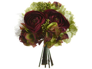 "10.5"" Hydrangea/Ranunculus/ Peony/Skimmia Bouquet Eggplant Green (pack of 6)"