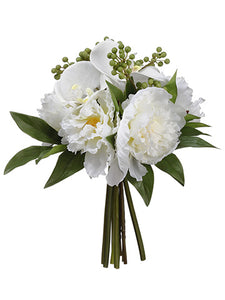 "12"" Phalaenopsis Orchid/Peony Bouquet White Green (pack of 4)"