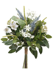 "19"" Nigella/Edelweiss/ Astilbe Bouquet White Blue (pack of 6)"