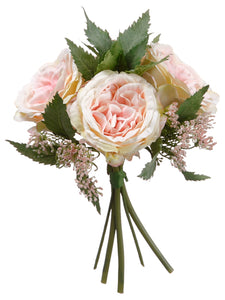 "9"" Cottage Rose Bouquet  Pink Cream (pack of 6)"