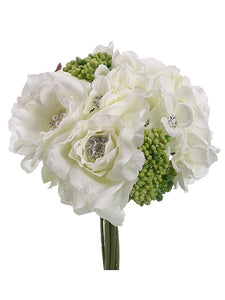 "10"" Rose/Hydrangea Bouquet  White (pack of 6)"
