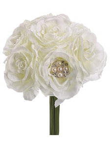 "9.5"" Rose w/Pearl Bouquet  White (pack of 12)"