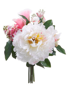"11"" Peony/Lilac Bouquet  Pink Cream (pack of 6)"