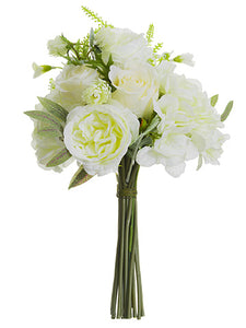 "14"" Rose/Queen Anne's Lace Bouquet White Green (pack of 6)"