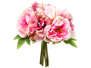 "10"" Peony/Sweet Pea Bouquet  Two Tone Pink (pack of 12)"