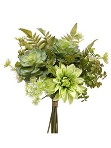 "12.5"" Dahlia/Succulent/Fern Bouquet Two Tone Green (pack of 6)"
