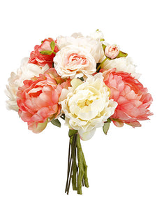 "13"" Peony/Ranunculus Bouquet  Coral Blush (pack of 6)"
