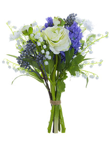 "12"" Ranunculus/Lily of The Valley Bouquet White Blue (pack of 6)"
