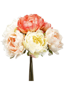 "12"" Peony Bouquet  Coral Blush (pack of 6)"