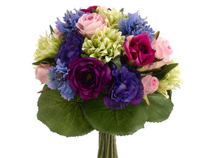 "11.5"" Rose/Lisianthus Bouquet  Blue Purple (pack of 6)"