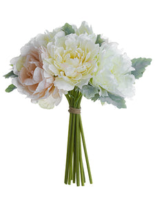 "16"" Peony/Dusty Miller Bouquet Cream Blush (pack of 4)"