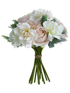 "16"" Rose/Dusty Miller Bouquet  Cream Blush (pack of 4)"