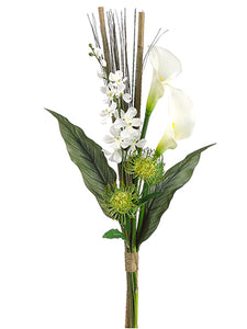 "31"" Dendrobium Orchid/Calla Lily/Protea Bundle White Green (pack of 6)"