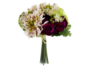 "10"" Dahlia/Ranunculus Bouquet  Burgundy Green (pack of 6)"