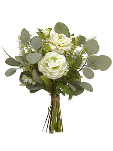 "14"" Ranunculus/Lily of The Valley/Eucalyptus Bouquet Cream Green (pack of 6)"