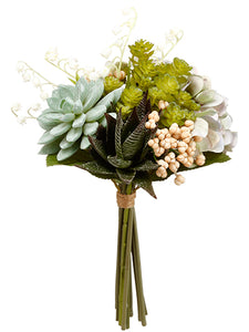 "11.5"" Hydrangea/Succulent Garden Bouquet Green Gray (pack of 6)"