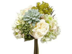 "12"" Rose/Hydrangea/ Succulent Garden Bouquet Green White (pack of 6)"