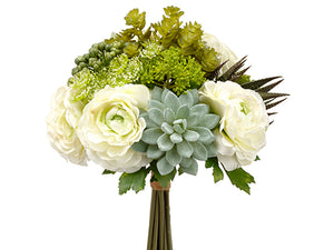"12"" Hydrangea/Succulent Garden Bouquet Green Gray (pack of 6)"