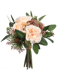 "8.5"" Rose/Protea/Sedum Bouquet Peach Green (pack of 6)"