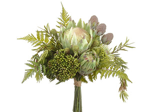 "15.5"" Protea/Leucadendron/ Sedum Bouquet Green Brown (pack of 4)"