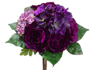 "12"" Rose/Hydrangea Bouquet  Violet Lilac (pack of 12)"