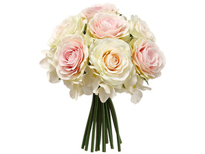"9"" Rose/Hydrangea Bouquet  White Pink (pack of 12)"