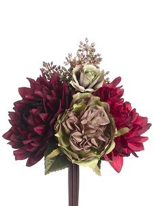 "9"" Dahlia/Rose Bouquet  Burgundy Green (pack of 12)"