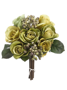 "9"" Rose/Berry Bouquet  Two Tone Green (pack of 12)"