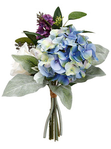 "11"" Hydrangea/Lilac/Rose Bouquet Blue Purple (pack of 6)"
