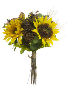 "15"" Sunflower/Eucalyptus Leaf/Pine Cone/Long Needle Pine Bouquet Yellow Brown (pack of 6)"