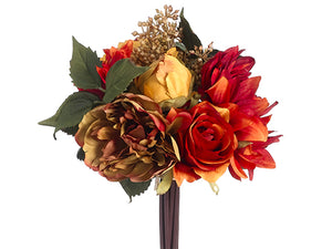 "9"" Peony/Rose Bouquet  Mustard Flame (pack of 12)"