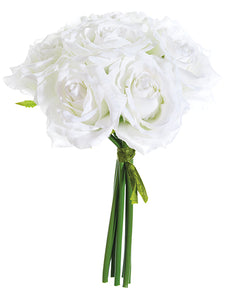 "9"" Rose Bouquet x7  White (pack of 12)"