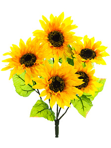 "18"" Sunflower Bush x5  Yellow (pack of 12)"