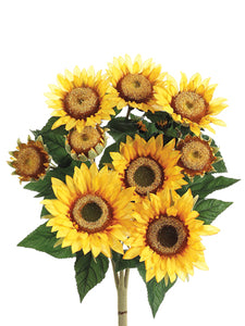 "21"" Sunflower Bush x9 with 9 Flowers Yellow (pack of 12)"