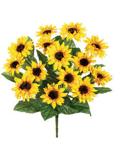 "16"" Sunflower Bush x14  Yellow (pack of 12)"