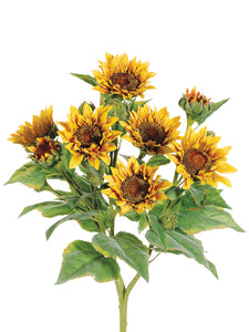 "22"" Sunflower Bush x9  Yellow (pack of 4)"