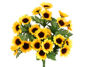 "11"" Mini Sunflower Bush x7  Yellow Gold (pack of 24)"