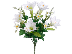 "19.5"" Easter Lily/Daisy Bush x10 White (pack of 12)"