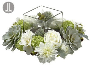 "8""Hx14""Wx14""L Rose/Dahlia /Snowball Centerpiece With Glass Candleholder White Green (pack of 1)"